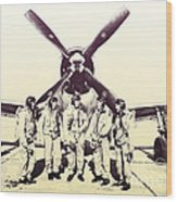 Test Pilots With P-47 Thunderbolt Fighter Wood Print