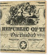 Texas Banknote, 1839 Wood Print
