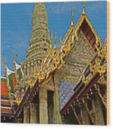 Thai-khmer Pagoda At Grand Palace Of Thailand In Bangkok Wood Print