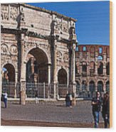 The Arch Of Constantine And Colosseum Wood Print