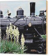 The Black Steam Engine Wood Print
