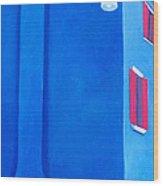 The Blue House Burano Wood Print