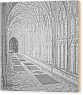 The Cloister In Gloucester Cathedral Wood Print