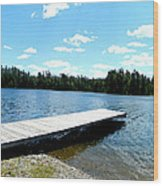 The Dock Wood Print by Dianne  Lacourciere