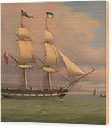 The English Brig Norval Before The Wind Wood Print