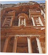 The Facade Of Al Khazneh In Petra Jordan Wood Print by Robert Preston