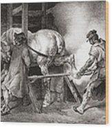The Farrier, From Etudes De Cheveaux Wood Print