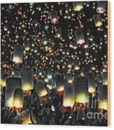 The Floating Lanterns In Thailand. Wood Print