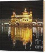 The Golden Temple At Amritsar At Night Wood Print