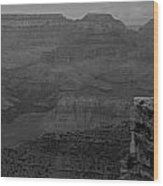The Grand Canyon In Black And White Wood Print