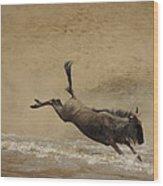 The Great Migration- Wildebeest Crossing  Wood Print