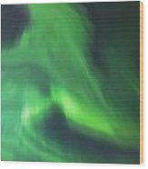 The Green Northern Lights Corona Wood Print