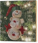 The Happy Snowman Wood Print