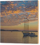 The Harbor At Sunrise Wood Print