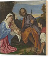 The Holy Family With A Shepherd Wood Print