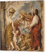 The Israelites Gathering Manna In The Desert Wood Print
