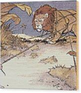 The Lion And The Mouse Wood Print