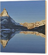 The Matterhorn And Riffelsee Lake Wood Print