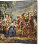 The Meeting Of David And Abigail Wood Print