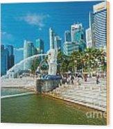 The Merlion  Fountain - Singapore Wood Print