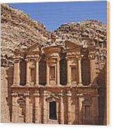 The Monastery Sculpted Out Of The Rock At Petra In Jordan Wood Print