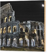 The Moon Above The Colosseum No2 Wood Print
