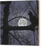 The Moon Watcher Wood Print