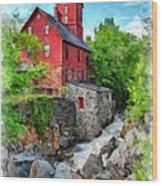 The Old Red Mill Jericho Vermont Wood Print