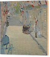 The Rue Mosnier With Flags Wood Print