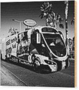 the sdx strip downtown express bendy bus on the Las Vegas strip Nevada USA Wood Print
