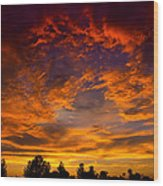The Sky Is On Fire  Wood Print