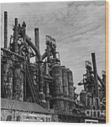 The Steel Mill In Black And White Wood Print