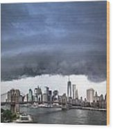 The Storm Over Manhattan Downtown Wood Print