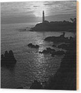The Sun Is Setting Behind The Pigeon Point Light Station Near Ano Nuevo Wood Print