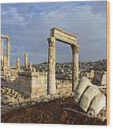 The Temple Of Hercules And Sculpture Of A Hand In The Citadel Amman Jordan Wood Print by Robert Preston