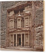 the treasury Nabataean ancient town Petra Wood Print