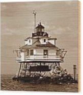 Thomas Point Shoal Lighthouse Sepia No. 2 Wood Print