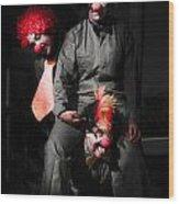 Three Clowns Having Fun Wood Print