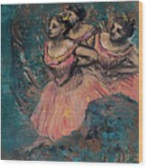 Three Dancers In Red Costume Wood Print