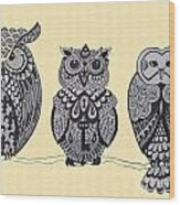 Three Owls On A Branch Wood Print