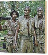 Three Soldiers Statue Wood Print