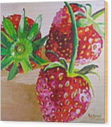Three Strawberries Wood Print