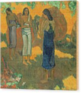 Three Tahitian Women Against A Yellow Background Wood Print