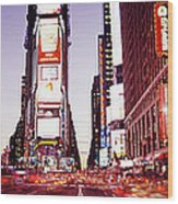 Times Square, Nyc, New York City, New Wood Print