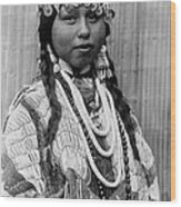 Tlakluit Indian Woman Circa 1910 Wood Print by Aged Pixel