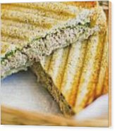 Toasted Tuna Sandwiches For American Breakfast Wood Print