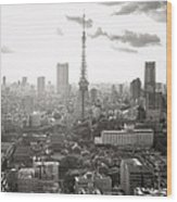Tokyo Tower Square Wood Print