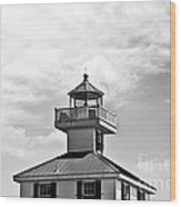 Top Of The New Canal Lighthouse - Bw Wood Print