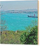 Topkapi Palace Wall Along The Bosporus In Istanbul-turkey  Wood Print