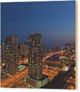 Toronto City At Dusk With Cn Tower Wood Print
